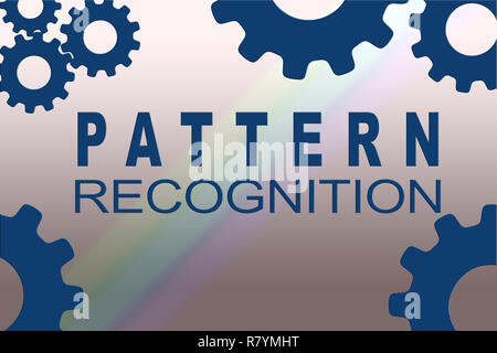 PATTERN RECOGNITION sign concept illustration with dark blue gear wheel figures on colored background - Stock Photo