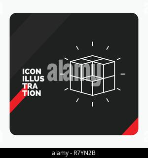 Red and Black Creative presentation Background for box, labyrinth, puzzle, solution, cube Line Icon - Stock Photo