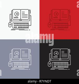 book, ebook, interactive, mobile, video Icon Over Various Background. Line style design, designed for web and app. Eps 10 vector illustration - Stock Photo