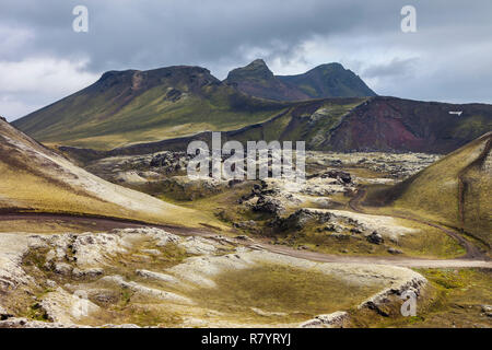 The Norournamshraun Lava Field From the F208 Road, Landmannalaugar, Iceland - Stock Photo