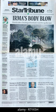 Newspaper StarTribune front page showing the destruction of hurricane Irma on Naples Florida 9/11/17. St Paul Minnesota MN USA - Stock Photo