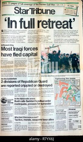StarTribune newspaper cover headline that Iraqi forces in full retreat on 2/27/91. St Paul Minnesota MN USA - Stock Photo