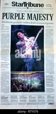 Purple Majesty headline on front page of Minneapolis StarTribune on 4/22/16 and Photo commemorating Prince's death. St Paul Minnesota MN USA - Stock Photo