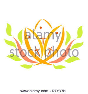 Three fish with crosses and two sprigs of tree, Christian symbols - Stock Photo