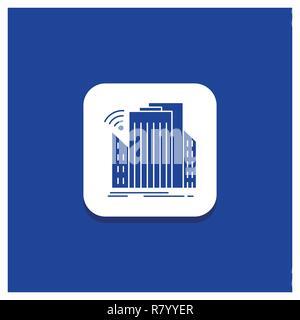 Blue Round Button for Buildings, city, sensor, smart, urban Glyph icon - Stock Photo