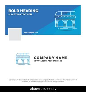 blue business logo template for metro railroad railway train