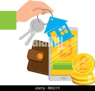 keys of house property with wallet and bitcoins vector illustration - Stock Photo