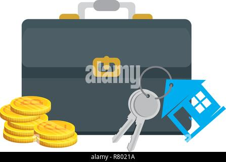 keys of house property with briefcase and bitcoins vector illustration - Stock Photo