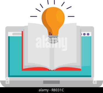 laptop with ebook and bulb - Stock Photo