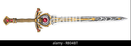 Long fantasy sword with red stone on an isolated background. 3d illustration - Stock Photo