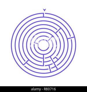 Simple round maze labyrinth game for kids. One of the puzzles from the set of child riddles - Stock Photo