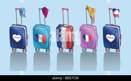 Tourist baggages and French hats for travel to France. All the objects are in different layers and the text types do not need any font. - Stock Photo