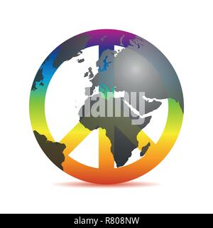 universal peace colorful symbol with earth in rainbow colors vector illustration EPS10 - Stock Photo
