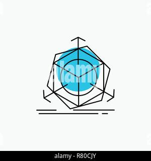 3d, change, correction, modification, object Line Icon - Stock Photo