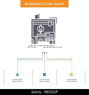 3d, dimensional, machine, printer, printing Business Flow Chart Design with 3 Steps. Glyph Icon For Presentation Background Template Place for text. - Stock Photo