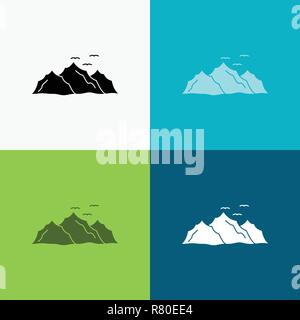 mountain, landscape, hill, nature, birds Icon Over Various Background. glyph style design, designed for web and app. Eps 10 vector illustration - Stock Photo