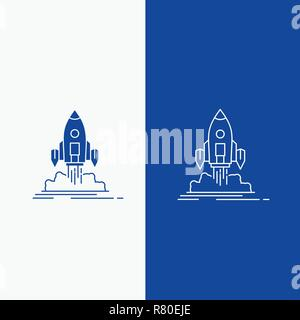 Launch, mission, shuttle, startup, publish Line and Glyph web Button in Blue color Vertical Banner for UI and UX, website or mobile application - Stock Photo
