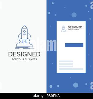 Business Logo for launch, startup, ship, shuttle, mission. Vertical Blue Business / Visiting Card template - Stock Photo