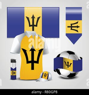 Barbados Country Flag place on T-Shirt, Lighter, Soccer Ball, Football and Sports Hat - Stock Photo