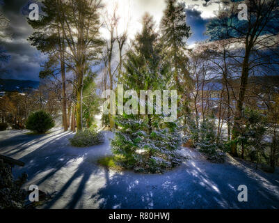 DE - BAVARIA: Early winter in the Isar Valley (Isartal) at Bad Toelz (HDR-Image) - Stock Photo
