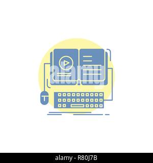 book, ebook, interactive, mobile, video Glyph Icon. - Stock Photo