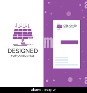 Business Logo for Solar, Panel, Energy, technology, smart city. Vertical Purple Business / Visiting Card template. Creative background vector illustra - Stock Photo