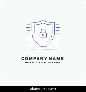 Defence, firewall, protection, safety, shield Purple Business Logo Template. Place for Tagline
