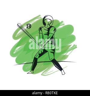 Baseball player cartoon - Stock Photo