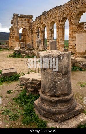 Morocco, Meknes, Volubilis Roman site, broken column inside arches of the Basilica, - Stock Photo