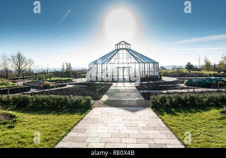 RHS Hyde Hall, global growth vegetable garden, octagonal glasshouse. - Stock Photo