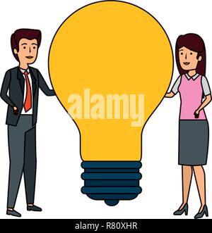 business couple with bulb characters vector illustration design - Stock Photo