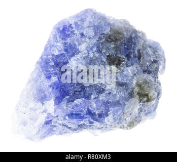 macro photography of natural mineral from geological collection - raw tanzanite (blue and violet zoisite) crystals on white background - Stock Photo