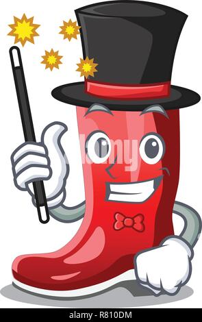 Magician muddy farmer boots shape the cartoon - Stock Photo