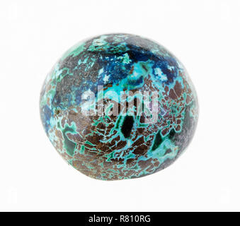 macro photography of natural mineral from geological collection - chrysocolla ball on white background - Stock Photo