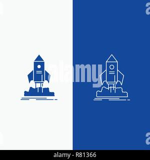 launch, startup, ship, shuttle, mission Line and Glyph web Button in Blue color Vertical Banner for UI and UX, website or mobile application - Stock Photo