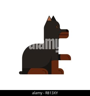 Doberman sits. Thoroughbred dog gives a paw. Vector illustration. Flat icon. - Stock Photo
