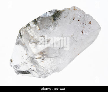 macro photography of natural mineral from geological collection - raw clear quartz (rock crystal) stone on white background - Stock Photo