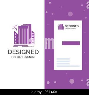 Business Logo for Buildings, city, sensor, smart, urban. Vertical Purple Business / Visiting Card template. Creative background vector illustration - Stock Photo