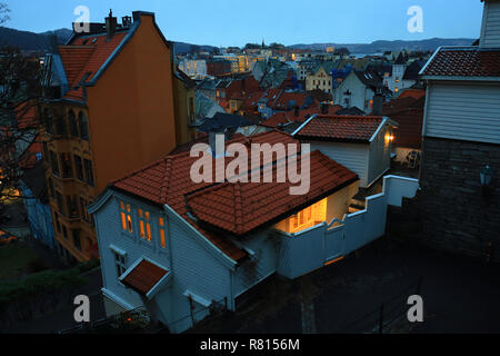 Famous view of Bergen old town at dusk. Cityscape, traditional colorful wooden houses, city lights. Norway, Scandinavia, tourism, landmark. - Stock Photo
