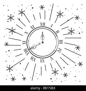 clock with stars decoration to new year - Stock Photo