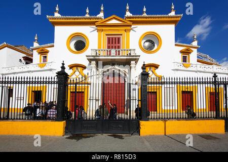 Bullring La Real Maestranza, Plaza de Toros, Seville, Andalusia, Spain - Stock Photo