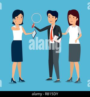 businesspeople with document information and magnifying glass - Stock Photo
