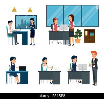 businesswomen and businessmen office business technology - Stock Photo