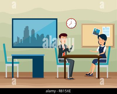 businessman and businesswoman strategy plan information - Stock Photo