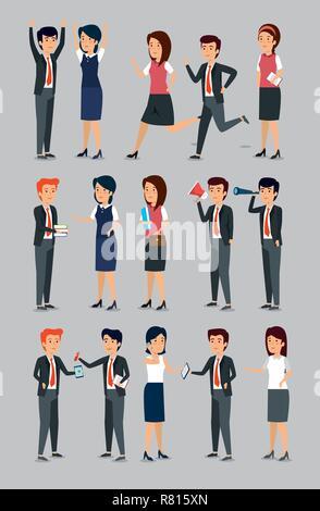 set businesswomen and businessmen professional job analysis - Stock Photo