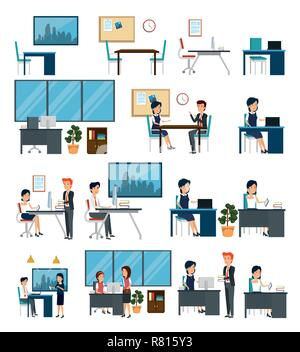 set business office with data technology and businesspeople - Stock Photo