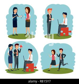 set businesswomen and businessmen strategy analysis plan - Stock Photo