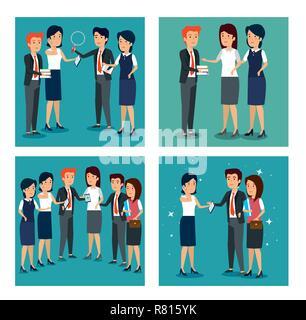 set businesspeople teamwork strategy plan information - Stock Photo