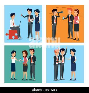 set businesswomen and businessmen strategy teamwork plan - Stock Photo