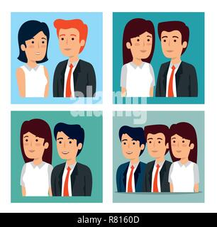 set businessmen and businesswomen strategy teamwork plan - Stock Photo